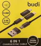 Budi 6 in1 Multi Charging Cable Model (180A)