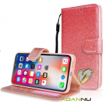 Galaxy A01 Wallet Heart Shinny Case