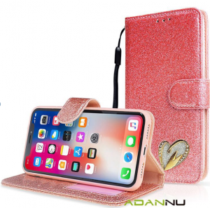Galaxy A20E Wallet Heart Shinny Case